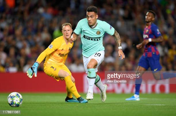 Lautaro Martinez of Inter Milan during the UEFA Champions League group F match between FC Barcelona and FC Internazionale at Camp Nou on October 02...