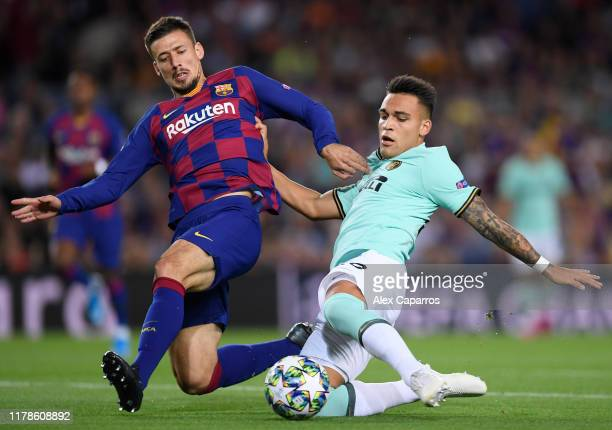 Lautaro Martinez of Inter Milan scores his sides first goal during the UEFA Champions League group F match between FC Barcelona and FC Internazionale...