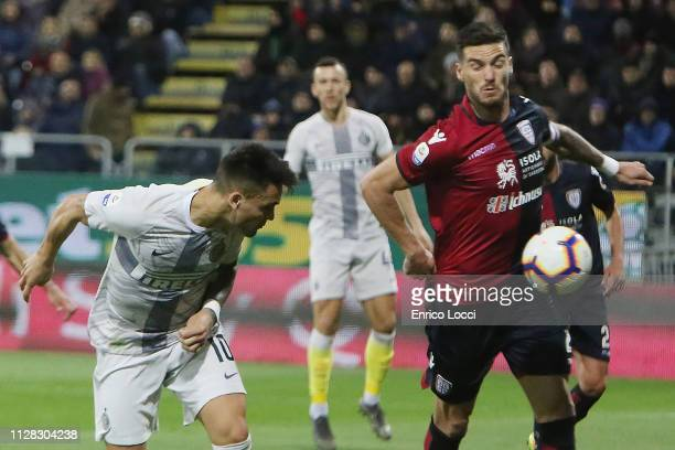 Lautaro Martinez of Inter scores his goal 11 during the Serie A match between Cagliari and FC Internazionale at Sardegna Arena on March 1 2019 in...