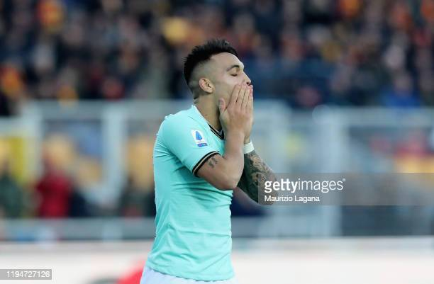 Lautaro Martinez of Inter shows his dejection during the Serie A match between US Lecce and FC Internazionale at Stadio Via del Mare on January 19,...
