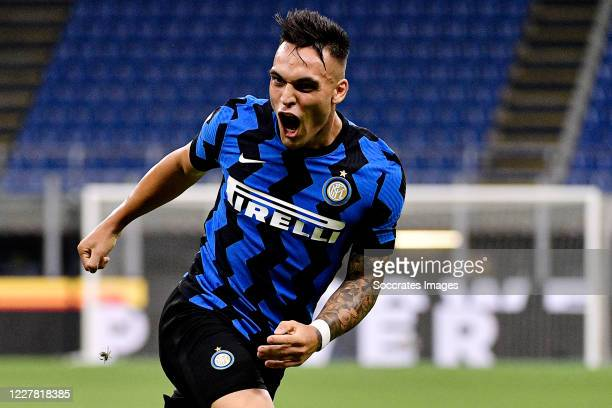 Lautaro Martinez of Internazionale celebrates 20 during the Italian Serie A match between Internazionale v Napoli at the San Siro on July 28 2020 in...