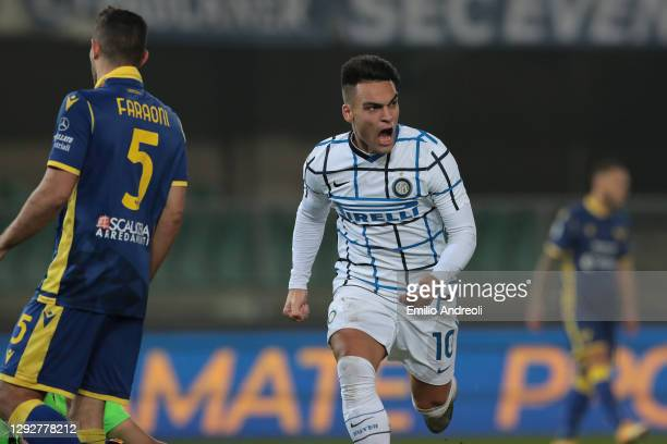 Lautaro Martinez of Internazionale celebrates after scoring their sides first goal during the Serie A match between Hellas Verona FC and FC...