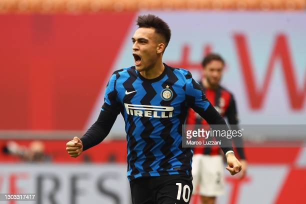 Lautaro Martinez of Internazionale celebrates after scoring their side's first goal during the Serie A match between AC Milan and FC Internazionale...