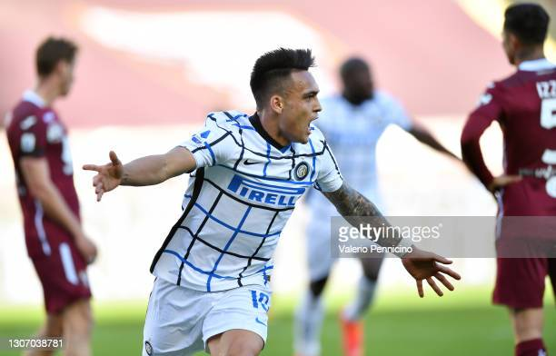 Lautaro Martinez of Internazionale celebrates after scoring their side's second goal during the Serie A match between Torino FC and FC Internazionale...