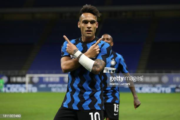 Lautaro Martinez of Internazionale celebrates after scoring their side's second goal during the Serie A match between FC Internazionale and US...