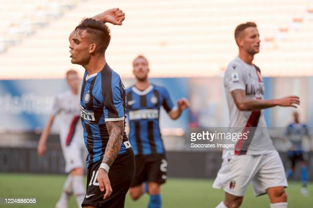 Lautaro Martinez of Internazionale during the Italian Serie A match between Internazionale v Bologna at the San Siro on July 5, 2020 in Milan Italy