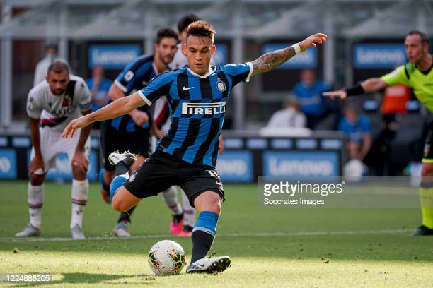 Lautaro Martinez of Internazionale during the Italian Serie A match between Internazionale v Bologna at the San Siro on July 5 2020 in Milan Italy
