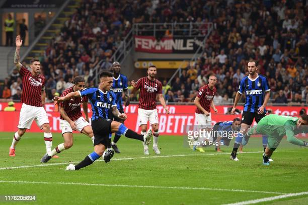 Lautaro Martinez of Internazionale kicks the ball during the Serie A match between AC Milan and FC Internazionale at Stadio Giuseppe Meazza on...