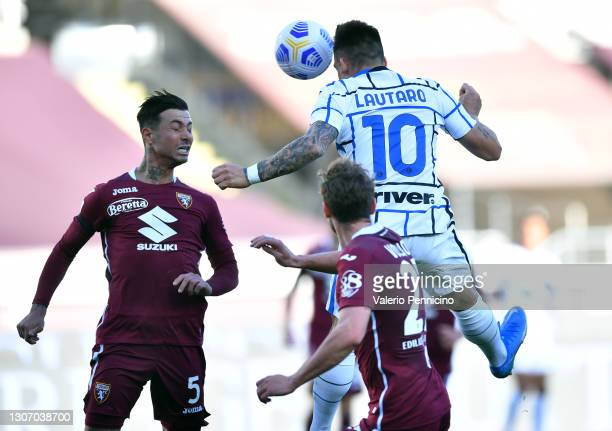 Lautaro Martinez of Internazionale scores their side's second goal during the Serie A match between Torino FC and FC Internazionale at Stadio...