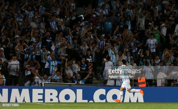 Lautaro Martinez of Racing celebrates after scoring the third goal of his team during a Group E match between Racing Club and Cruzeiro as part of...