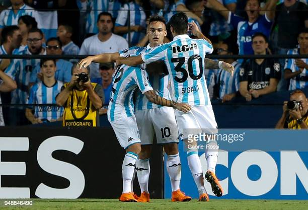 Lautaro Martinez of Racing Club and teammates celebrate their team's second goal during a match between Racing Club and Vasco da Gama as part of Copa...
