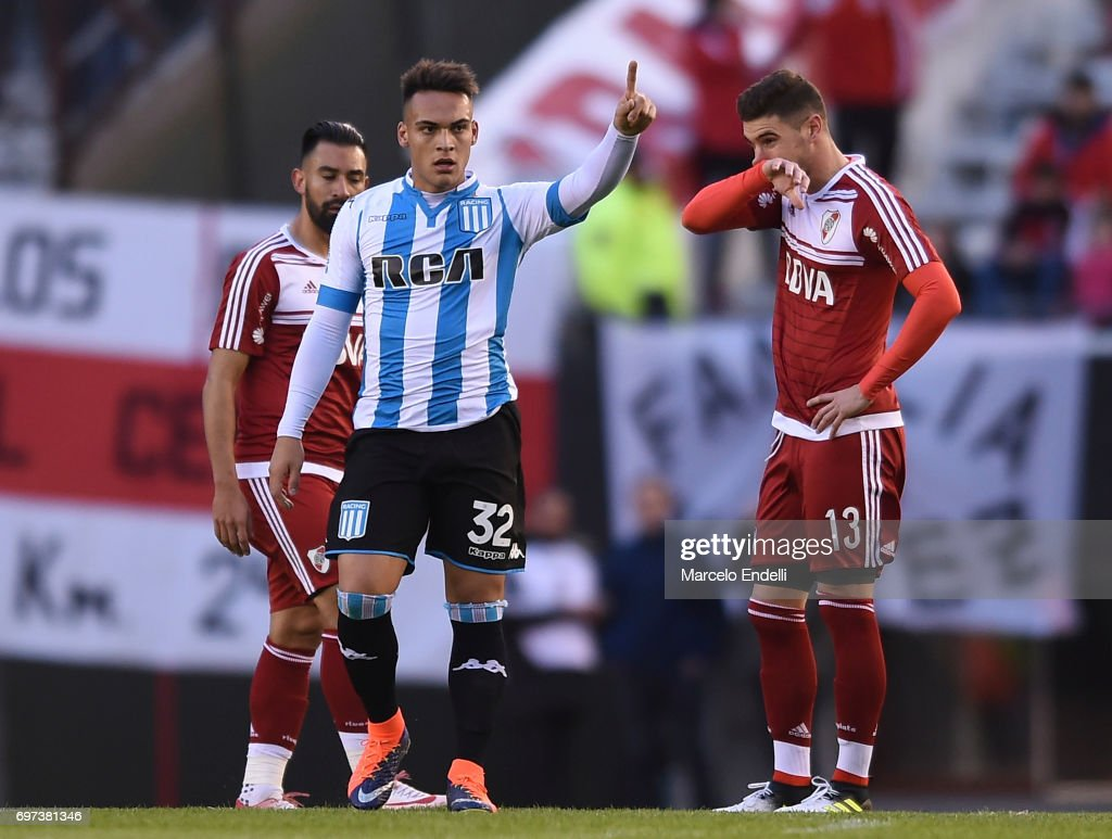 Lautaro Martinez of Racing Club celebrates after scoring the first goal of his team during a match between River Plate and Racing Club as part of Torneo Primera Division 2016/17 at Monumental Stadium on June 18, 2017 in Buenos Aires, Argentina.