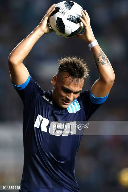 Lautaro Martinez of Racing Club celebrates after scoring the fourth goal of his team during a match between Racing Club and Huracan as part of...