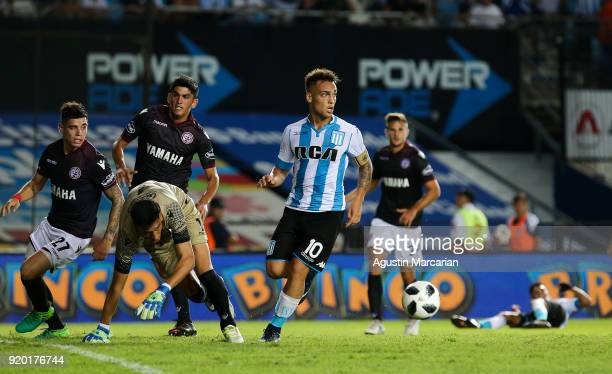 Lautaro Martinez of Racing Club controls the ball during a match between Racing Club and Lanus as part of Argentine Superliga 2017/18 at Estadio Juan...
