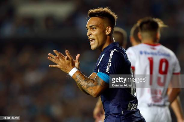 Lautaro Martinez of Racing Club gestures during a match between Racing Club and Huracan as part of Superliga Argentina 2017/18 at Presidente Peron...