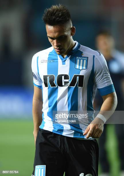 Lautaro Martinez of Racing Club leaves the field after being disqualified during a second leg match between Racing Club and Libertad as part of the...