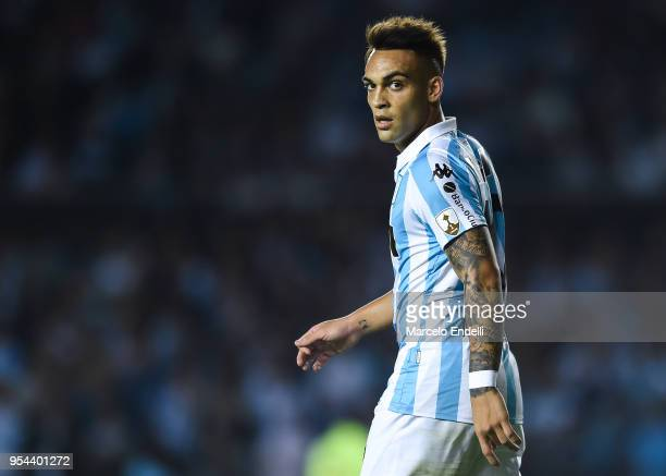 Lautaro Martinez of Racing Club looks on during a group stage match between Racing Club and Universidad de Chile as part of Copa CONMEBOL...