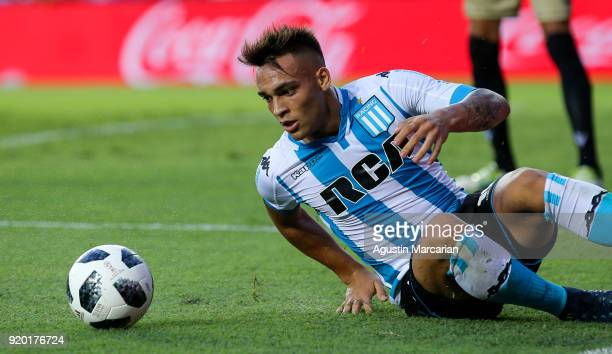 Lautaro Martinez of Racing Club looks to the ball during a match between Racing Club and Lanus as part of Argentine Superliga 2017/18 at Estadio Juan...