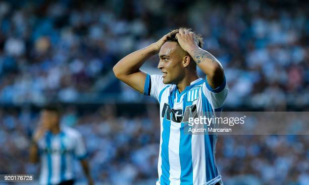 Lautaro Martinez of Racing Club racts after missing on target during a match between Racing Club and Lanus as part of Argentine Superliga 2017/18 at...