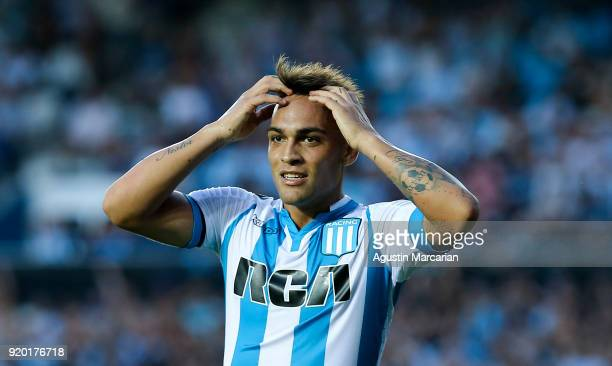 Lautaro Martinez of Racing Club reacts after missing a goal during a match between Racing Club and Lanus as part of Argentine Superliga 2017/18 at...