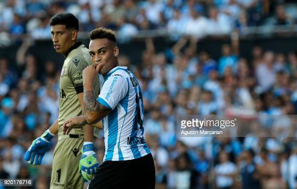 Lautaro Martinez of Racing Club reacts during a match between Racing Club and Lanus as part of Argentine Superliga 2017/18 at Estadio Juan Domingo...