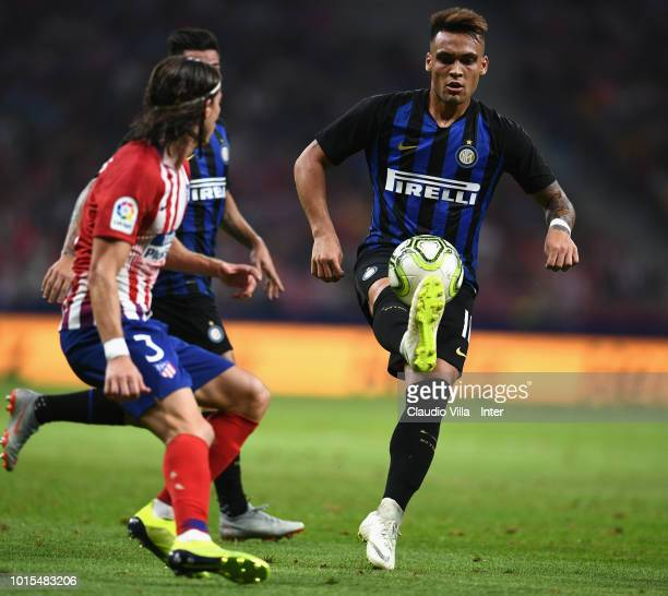 Lautaro Martínez in action during the International Champions Cup 2018 match between Atletico Madrid and FC Internazionale at Estadio Wanda...