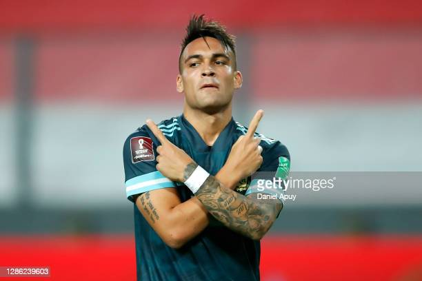 Lautaro Martínez of Argentina celebrates after scoring the second goal of his team during a match between Peru and Argentina as part of South...