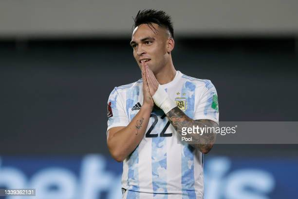 Lautaro Martínez of Argentina reacts during a match between Argentina and Bolivia as part of South American Qualifiers for Qatar 2022 at Estadio...