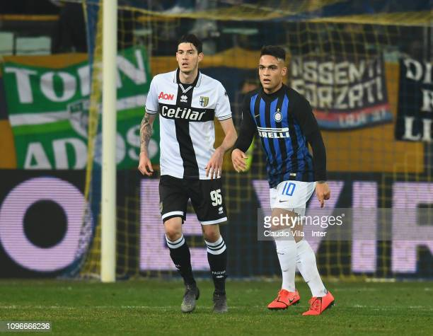 Lautaro Martínez of FC Internazionale and Alessandro Bastoni of Parma FC look on during the Serie A match between Parma Calcio and FC Internazionale...