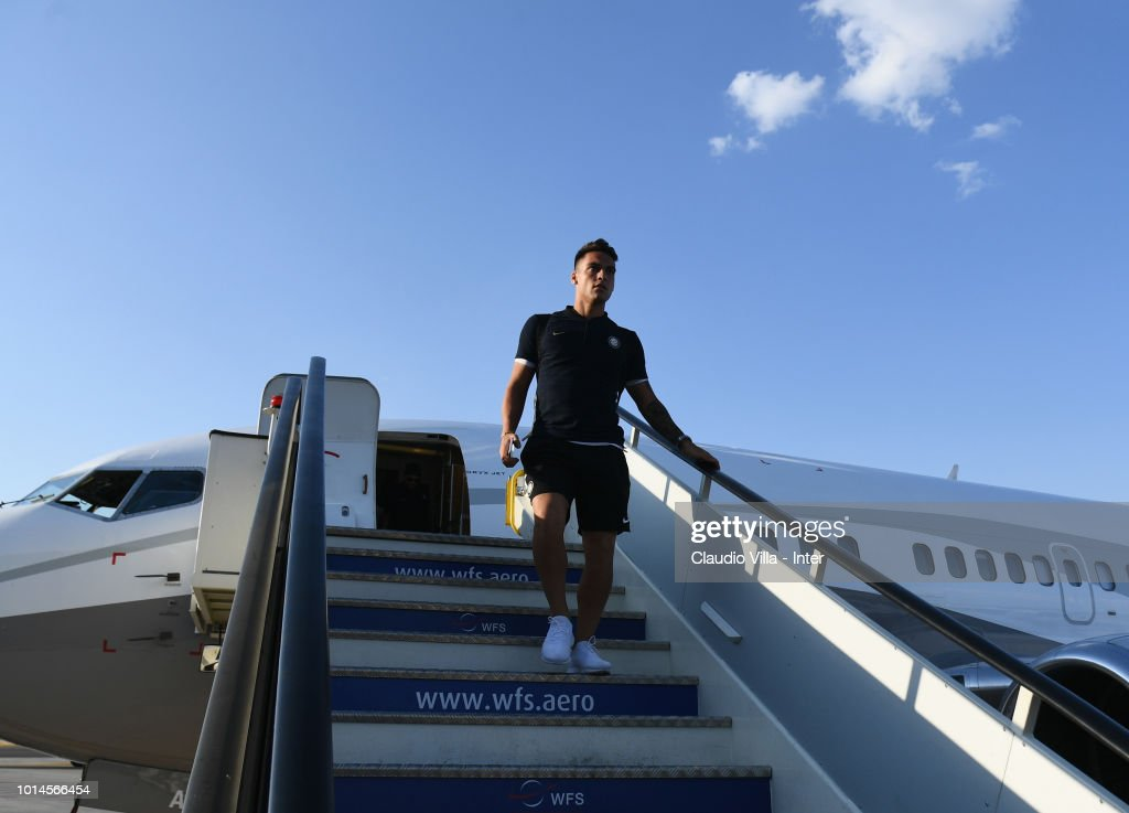 Lautaro Martínez of FC Internazionale arrives at Madrid-Barajas Airport on August 10, 2018 in Madrid, Spain.