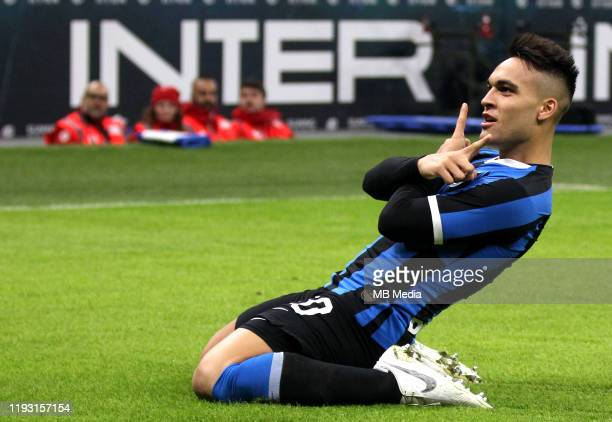 Lautaro Martínez of FC Internazionale celebrates after scoring his goal 10 during the Serie A match between FC Internazionale and Atalanta BC at...