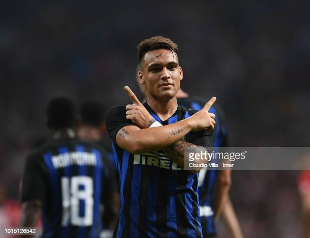 Lautaro Martínez of FC Internazionale celebrates after scoring the opening goal during the International Champions Cup 2018 match between Atletico...