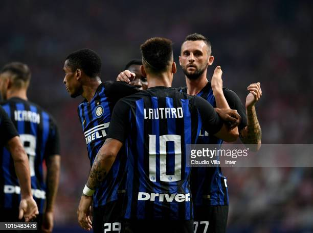 Lautaro Martínez of FC Internazionale celebrates after scoring the opening goal the opening goal during the International Champions Cup 2018 match...