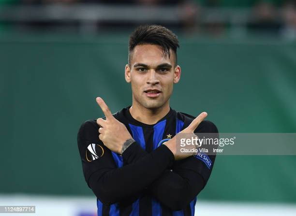 Lautaro Martínez of FC Internazionale celebrates after scoring the opening goal during the UEFA Europa League Round of 32 First Leg match between SK...