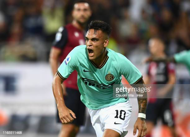 Lautaro Martínez of FC Internazionale celebrates after scoring the opening goal during the Serie A match between Cagliari Calcio and FC...