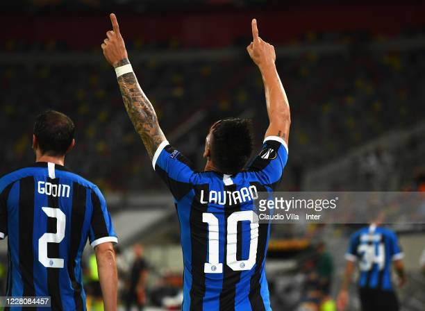 Lautaro Martínez of FC Internazionale celebrates after scoring the third goal during the UEFA Europa League Semi Final between Internazionale and...