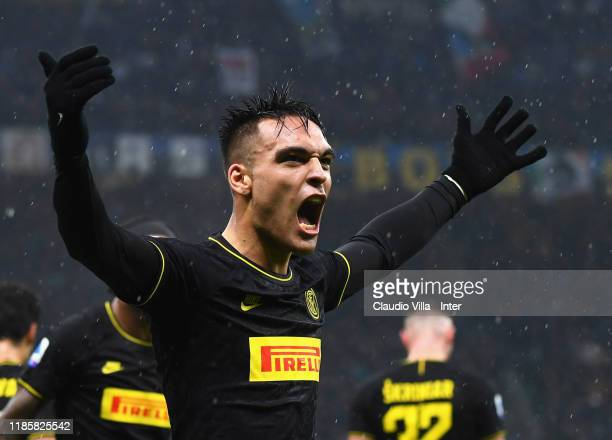 Lautaro Martínez of FC Internazionale celebrates during the Serie A match between FC Internazionale and SPAL at Stadio Giuseppe Meazza on December 1,...