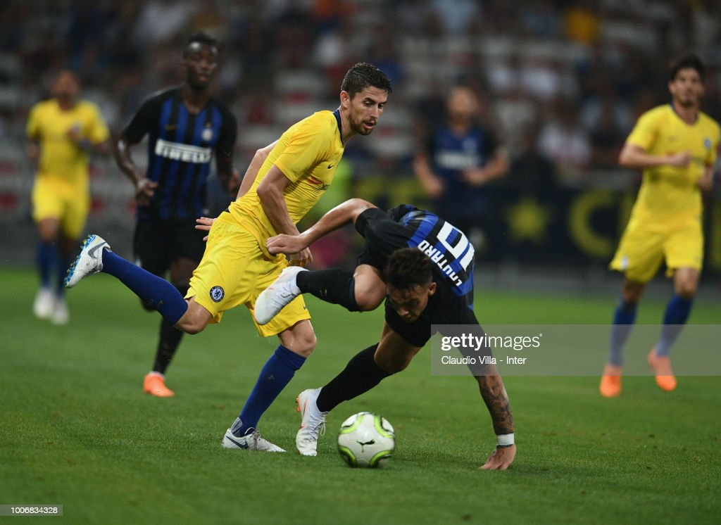 Lautaro Martínez of FC Internazionale controls the ball during the International Champions Cup 2018 match between Chelsea and FC Internazionale played at Allianz Riviera Stadium on July 28, 2018 in Nice, France.