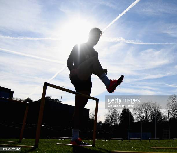 Lautaro Martínez of FC Internazionale in action during FC Internazionale training session at Appiano Gentile on February 21 2020 in Como Italy