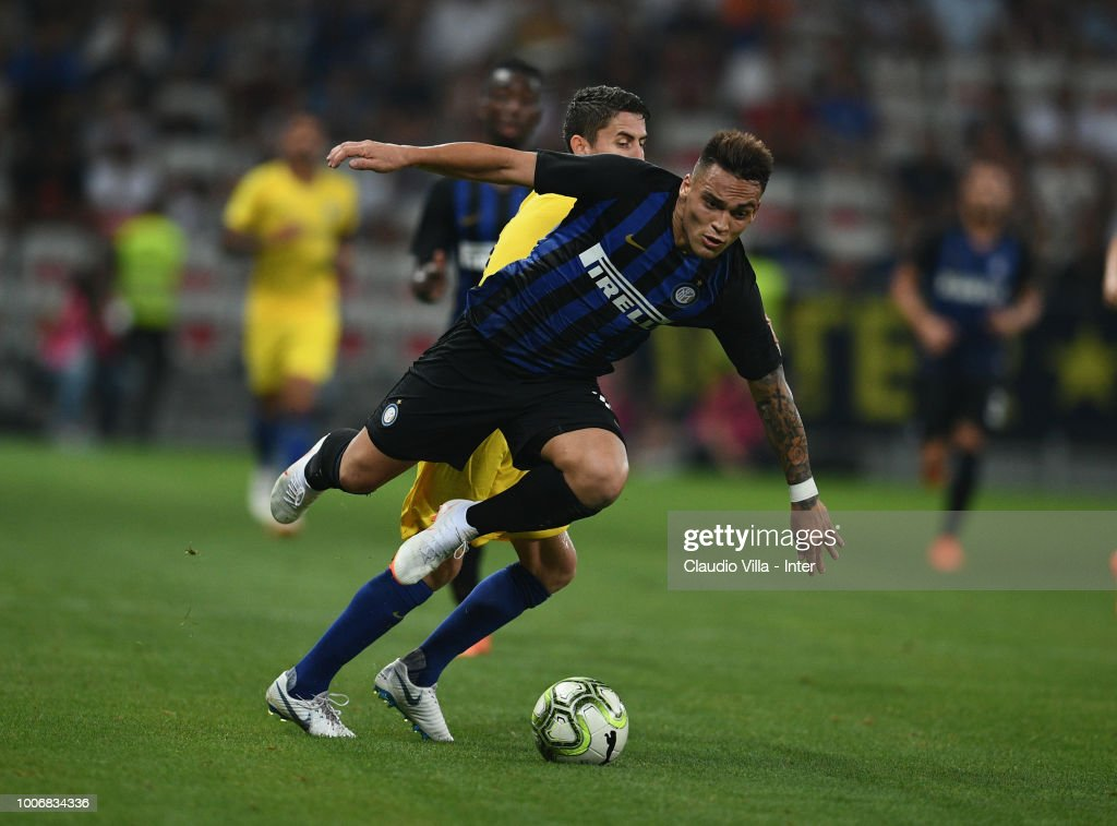 Lautaro Martínez of FC Internazionale in action during the International Champions Cup 2018 match between Chelsea and FC Internazionale played at Allianz Riviera Stadium on July 28, 2018 in Nice, France.
