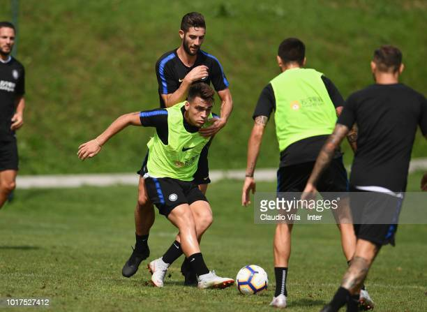Danilo D'Ambrosio and Matias Vecino of FC Internazionale compete for the ball during the FC Internazionale training session at the club's training...