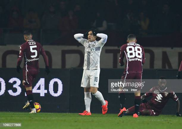 Lautaro Martínez of FC Internazionale in action during the Serie A match between Torino FC and FC Internazionale at Stadio Olimpico di Torino on...