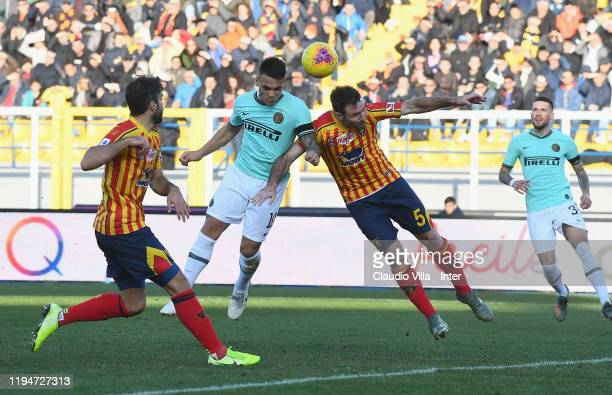 Lautaro Martínez of FC Internazionale in action during the Serie A match between US Lecce and FC Internazionale at Stadio Via del Mare on January 19...