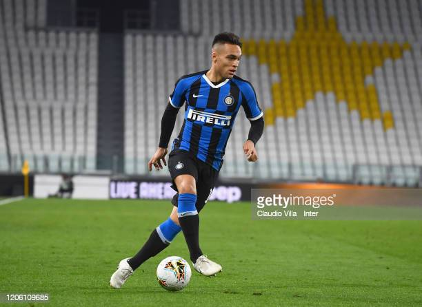 Lautaro Martínez of FC Internazionale in action during the Serie A match between Juventus and FC Internazionale played behind closed doors at Allianz...