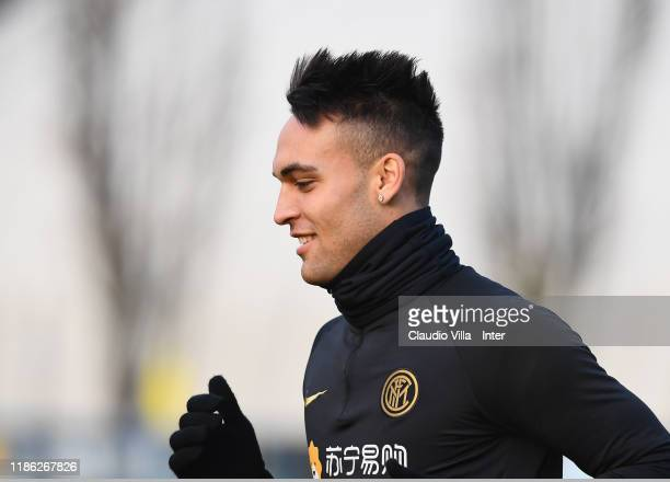 Lautaro Martínez of FC Internazionale looks on during FC Internazionale training session at Appiano Gentile on December 3 2019 in Como Italy