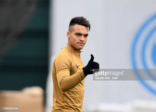 Lautaro Martínez of FC Internazionale looks on during FC Internazionale training session at Appiano Gentile on February 25 2020 in Como Italy