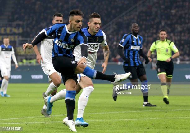 Lautaro Martínez of FC Internazionale scoring his goal 10 during the Serie A match between FC Internazionale and Atalanta BC at Stadio Giuseppe...