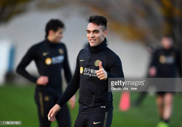 COMO ITALY DECEMBER 03 Lautaro Martínez of FC Internazionale smiles during a FC Internazionale training session at Appiano Gentile on December 3 2019...