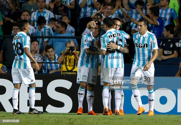 Lautaro Martínez of Racing Club and teammates celebrate their team's second goal during a match between Racing Club and Vasco da Gama as part of Copa...
