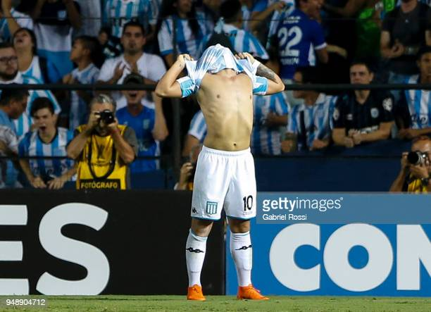 Lautaro Martínez of Racing Club celebrates after scoring his team's second goal during a match between Racing Club and Vasco da Gama as part of Copa...